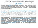 lo stato italiano e i demoetnoantropologici gli archivi