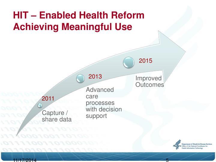 HIT – Enabled Health Reform