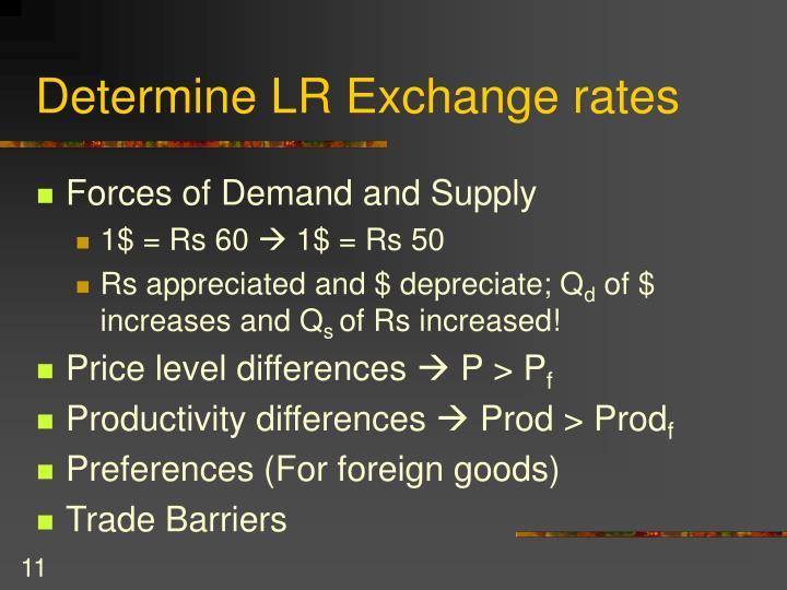 Determine LR Exchange rates
