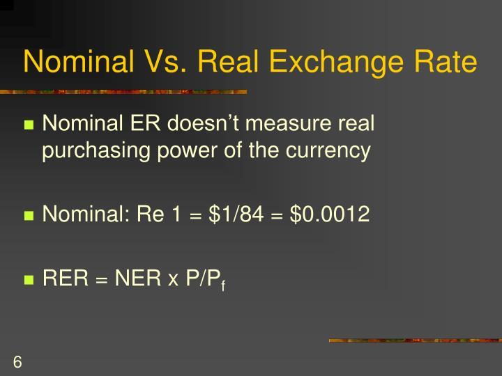 Nominal Vs. Real Exchange Rate
