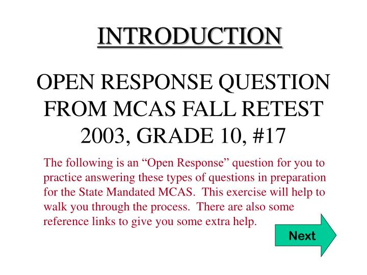 open response question from mcas fall retest 2003 grade 10 17 n.