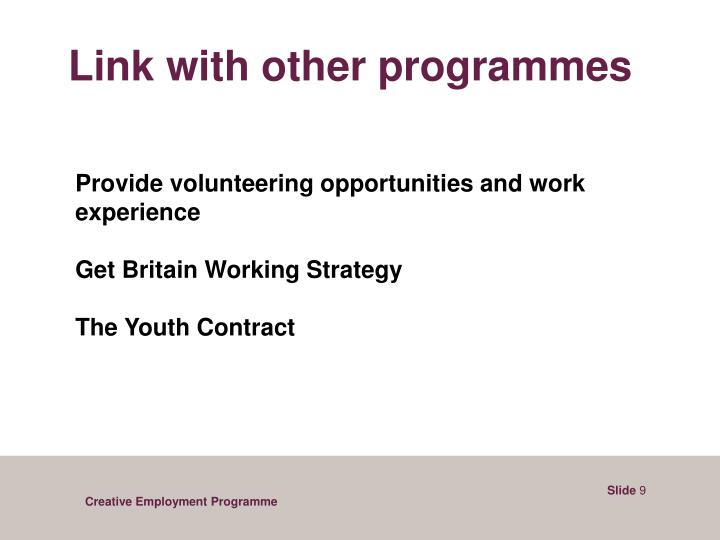 Link with other programmes