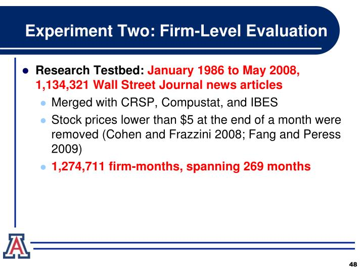 Experiment Two: Firm-Level Evaluation