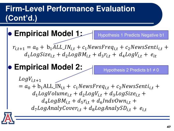 Firm-Level Performance Evaluation (Cont'd.)