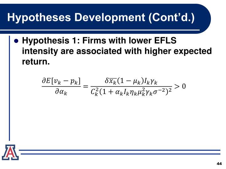 Hypotheses Development (Cont'd.)