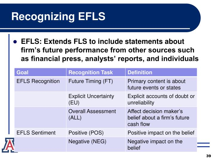 Recognizing EFLS