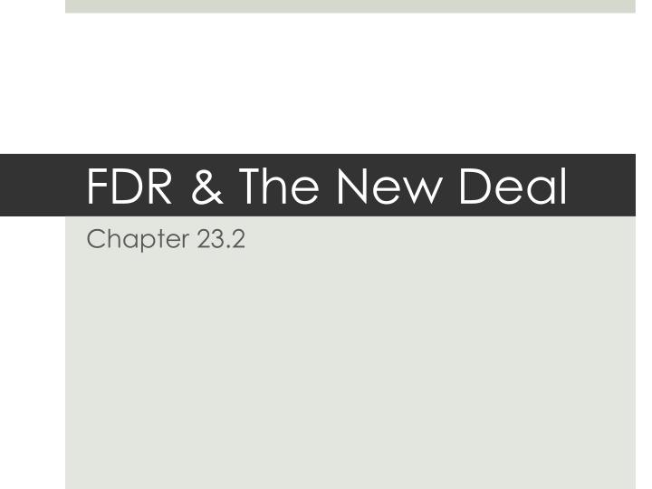 fdr the new deal n.