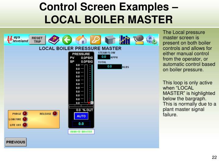Control Screen Examples –