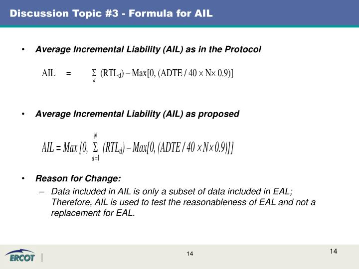 Discussion Topic #3 - Formula for AIL