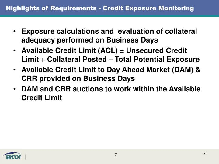 Highlights of Requirements - Credit Exposure Monitoring