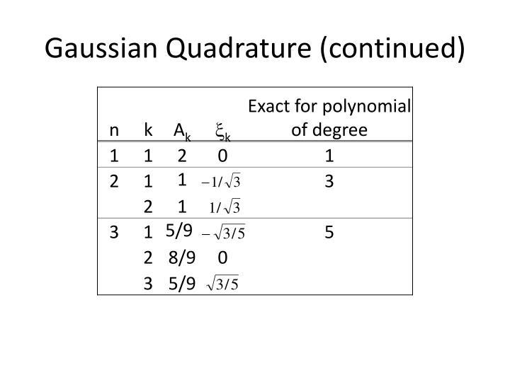 Gaussian Quadrature (continued)