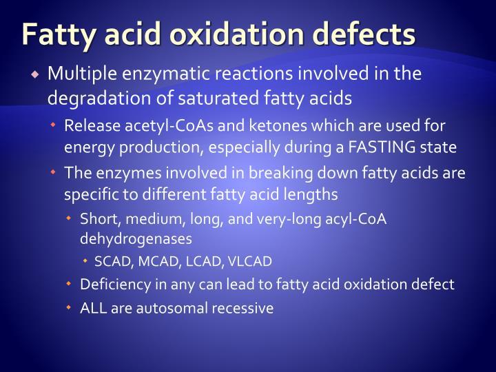 Fatty acid oxidation defects