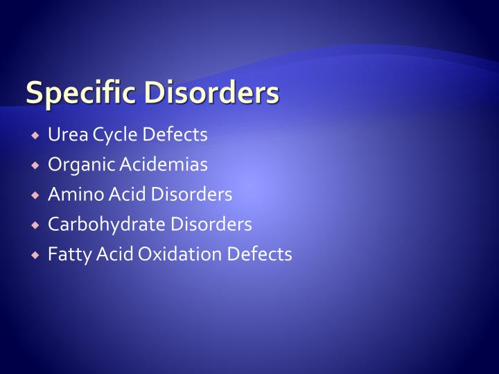 Specific Disorders