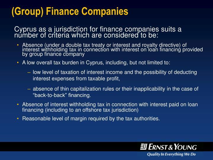 (Group) Finance Companies