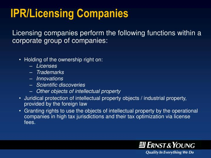 IPR/Licensing Companies