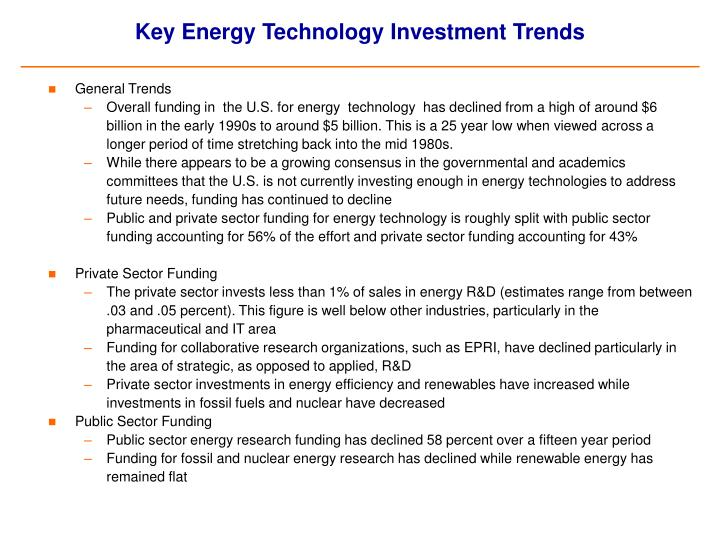 Key energy technology investment trends
