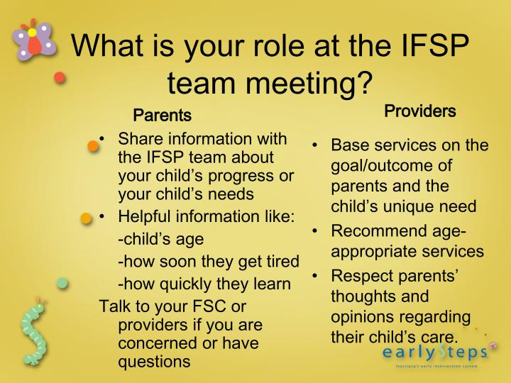 Share information with the IFSP team