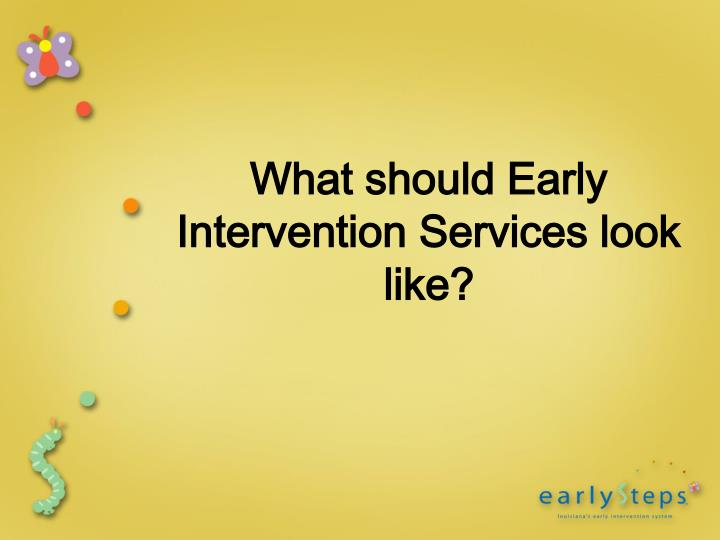 What should Early Intervention Services look like?