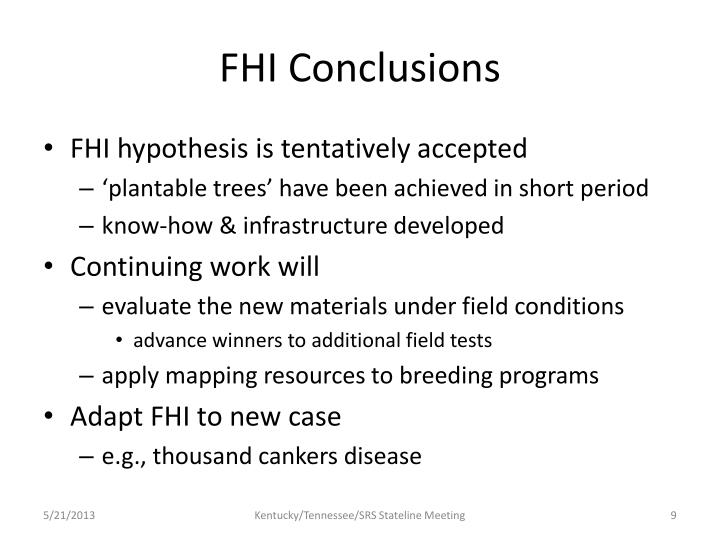 FHI Conclusions