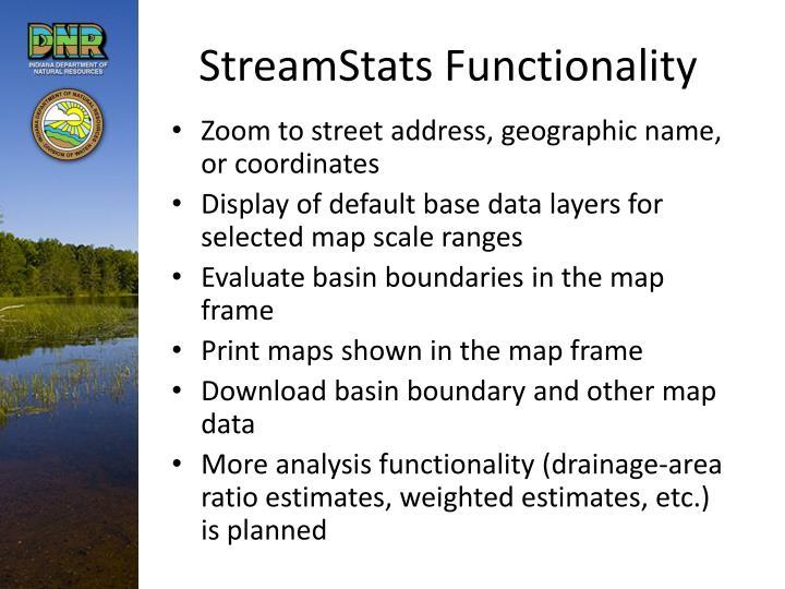 StreamStats Functionality