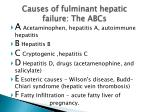 causes of fulminant hepatic failure the abcs