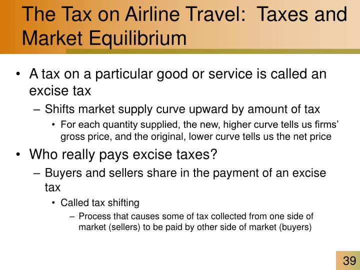 The Tax on Airline Travel:  Taxes and Market Equilibrium