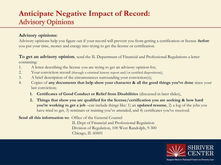 Anticipate Negative Impact of Record: