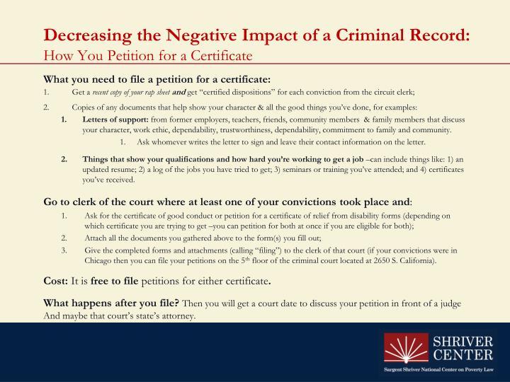 Decreasing the Negative Impact of a Criminal Record: