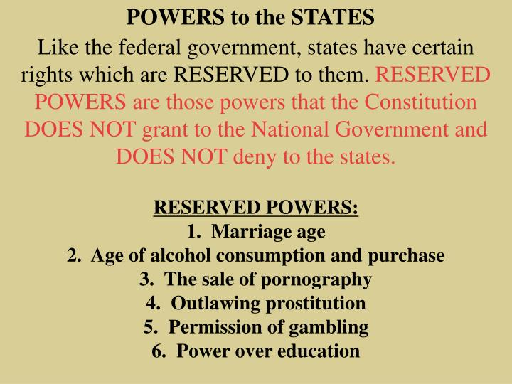 POWERS to the STATES
