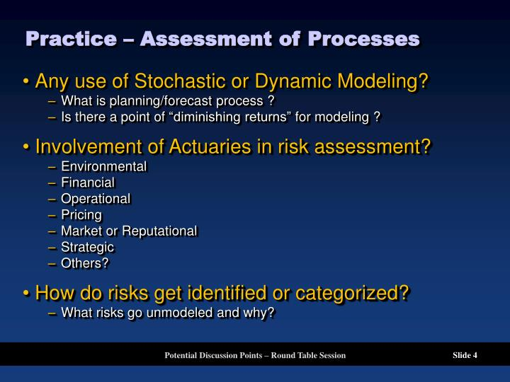 Practice – Assessment of Processes
