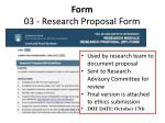 form 03 research proposal form
