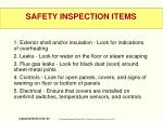 safety inspection items