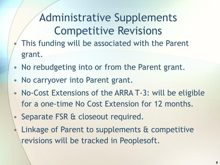Administrative Supplements Competitive Revisions