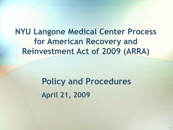 PPT - NYU Langone Medical Center Process for American