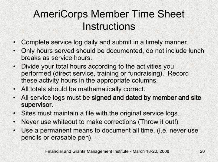 AmeriCorps Member Time Sheet Instructions