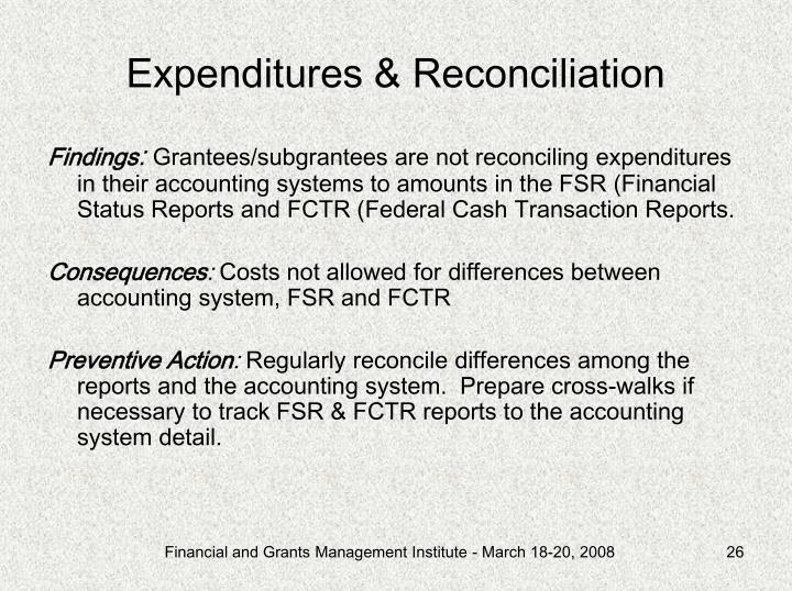 Expenditures & Reconciliation