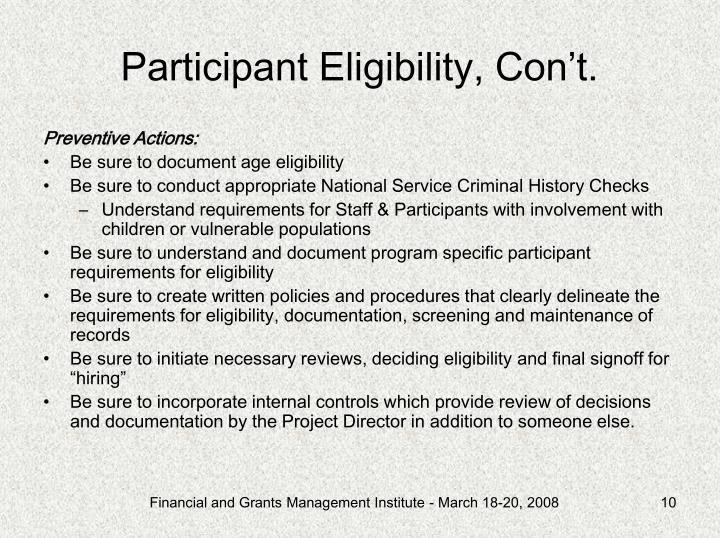 Participant Eligibility, Con't.