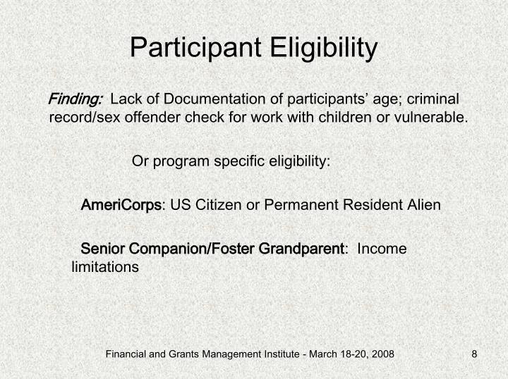 Participant Eligibility