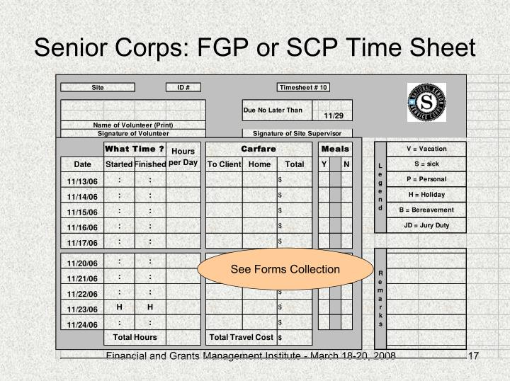 Senior Corps: FGP or SCP Time Sheet