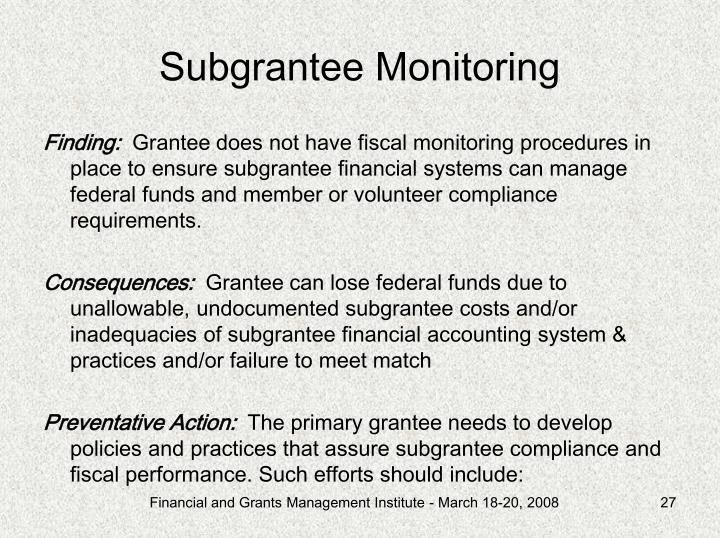 Subgrantee Monitoring
