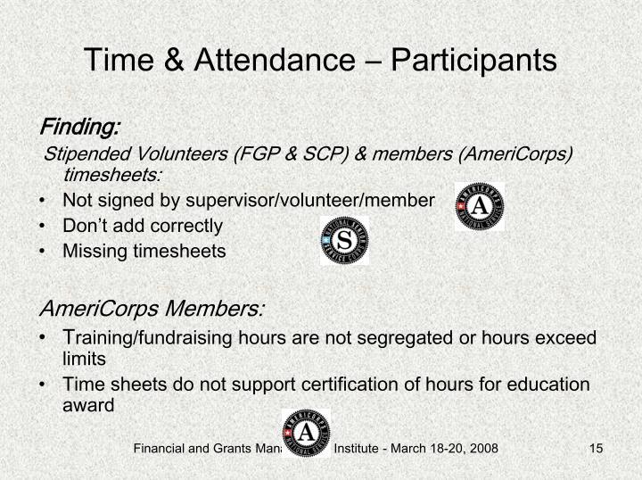 Time & Attendance – Participants