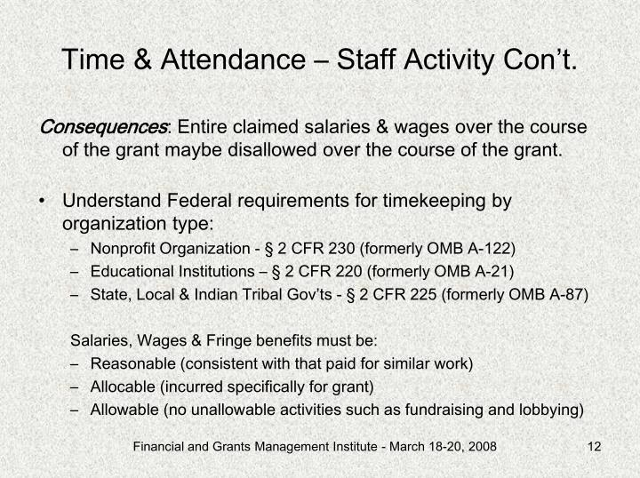 Time & Attendance – Staff Activity Con't.