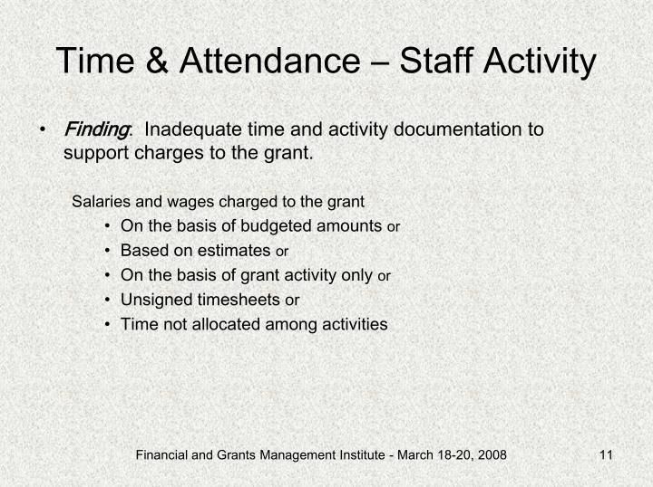 Time & Attendance – Staff Activity