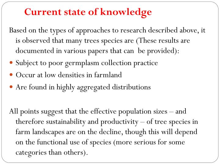 Current state of knowledge