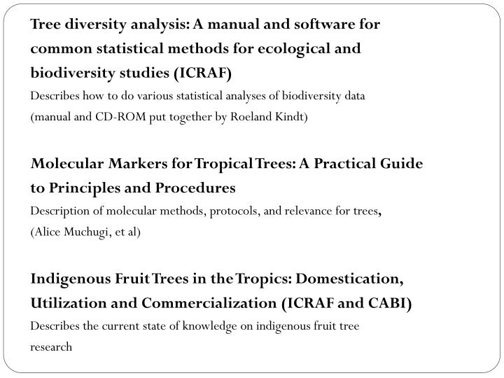 Tree diversity analysis: A manual and software for