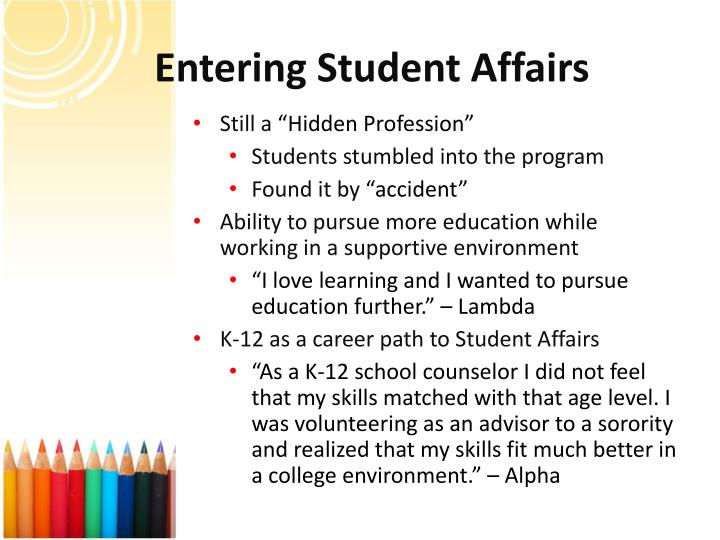 Entering Student Affairs