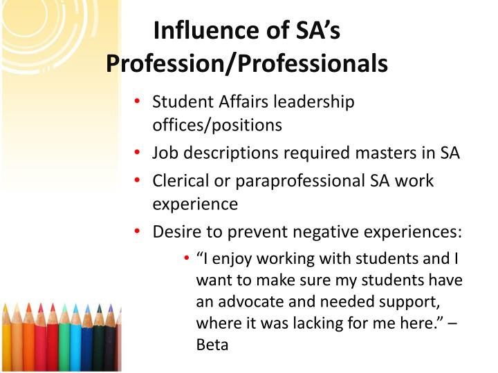 Influence of SA's Profession/Professionals