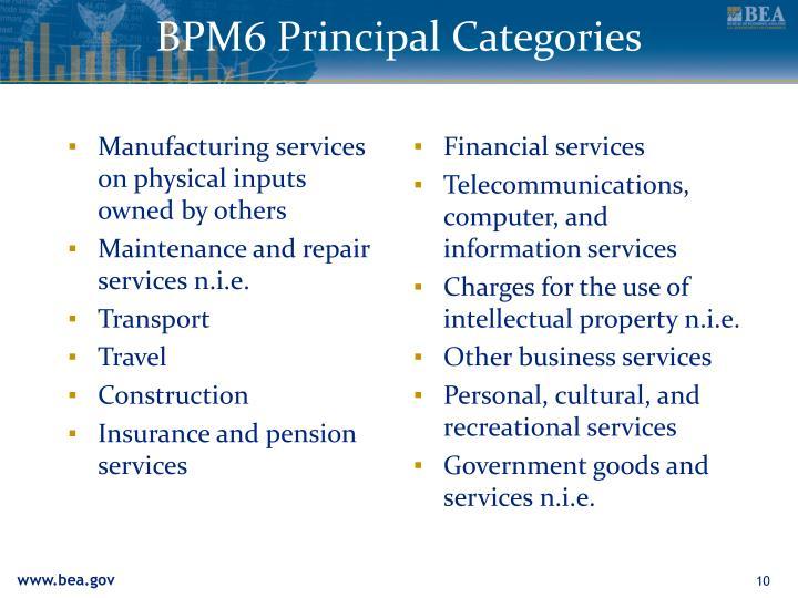 BPM6 Principal Categories