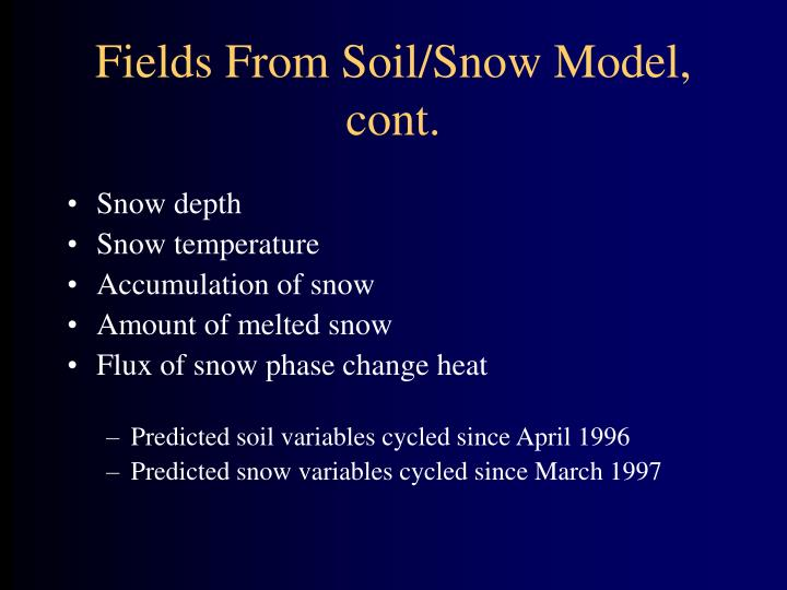 Fields From Soil/Snow Model, cont.