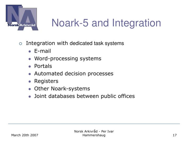 Noark-5 and Integration